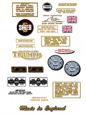1974: Bonneville T120V T120RV Decals - PART SET- Triumph Bonneville  Decals