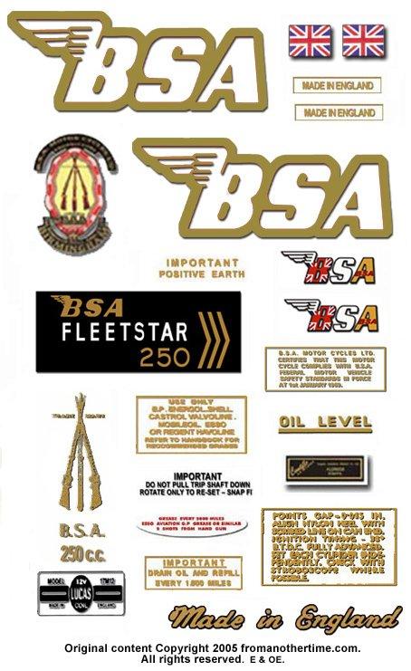 1969-70: BSA B25FS Fleetstar Decals - B52FS Restorers Decals