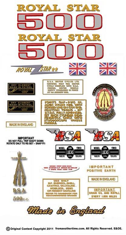 1970-72: BSA A50 Royal Star Decals - Royal Star Restorers Decalset