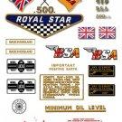 1968-69: BSA A50 Royal Star Decals - UK & General Export Decalset