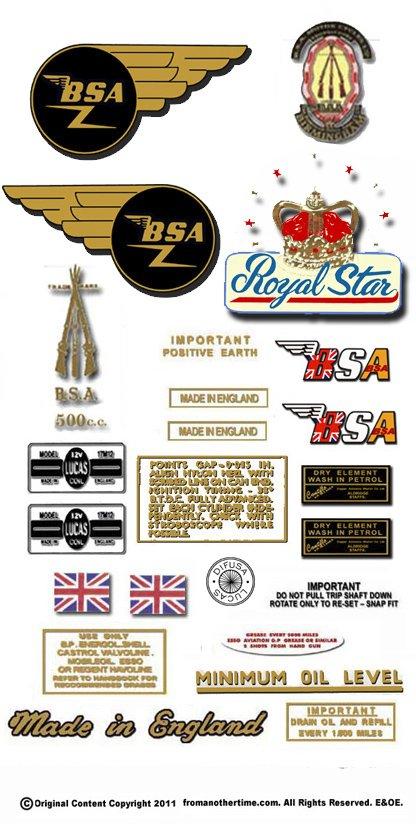 1966: BSA A50 Royal Star Decals - Royal Star  Restorers Decals