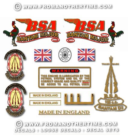 1958-59: BSA Bantam D5 Major decals- BSA Bantam Major restorers decalset