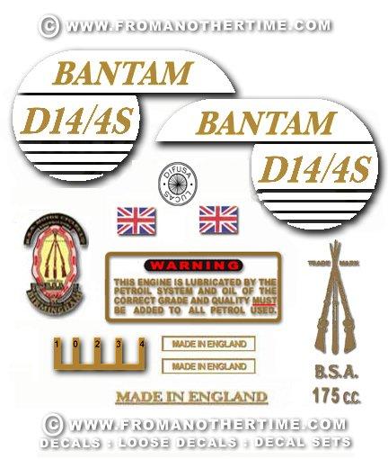 1968: BSA Bantam D14/4 Sports Decals - Bantam D14/4S Restorers decalset