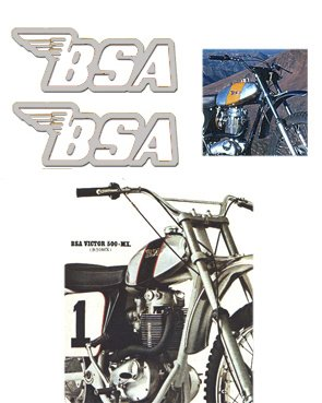 BSA Tank Decals - Silver filigree -1968 to 74 Models