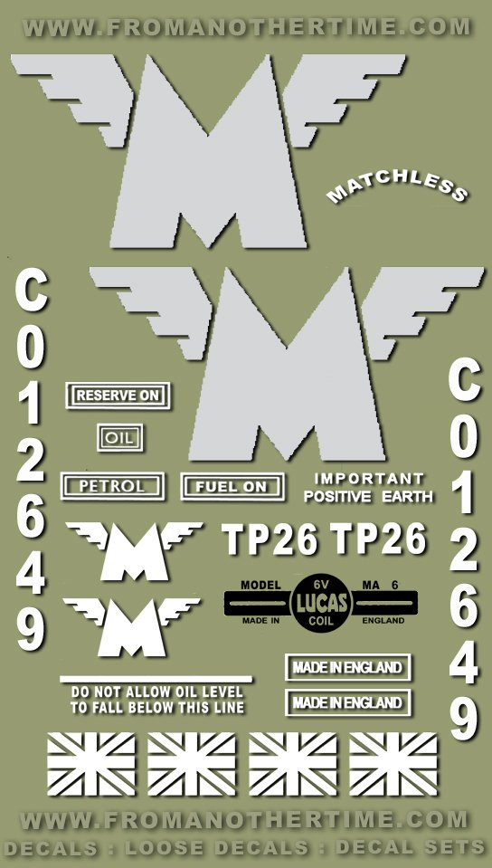 1946-51: Matchless Military Models Decals - RESTORERS DECALSET - Stickers (Adhesive transfers)
