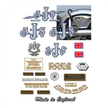 AJS Silver Streak -DECAL SET- 1937-40 Singles (Adhesive Transfers/Stickers set)