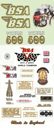 1971: BSA B50T Decals - RESTORERS DECAL SET-  BSA Victor Trail Stickers (Adhesive transfers)