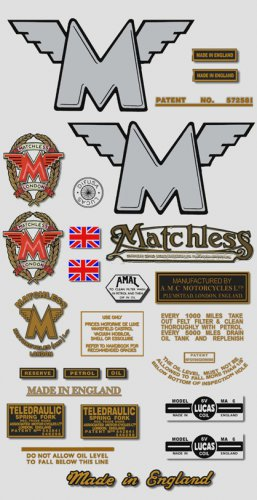 1949-52: Matchless Twin decals - RESTORERS DECALSET- G9 Twin Stickers (Adhesive transfers)