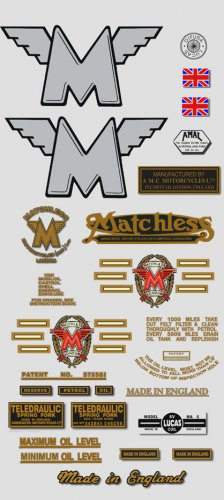 1959-60: Matchless Decals -RESTORERS DECALSET - G2 G3 G16 G80 Stickers (Adhesive transfers)