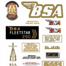 1969-70: BSA B25FS -BSA Fleetstar Decals- B52FS Decals
