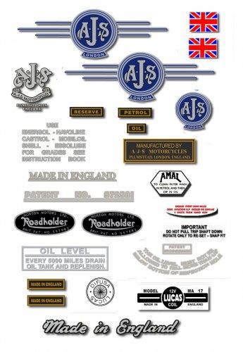 1963-66: Model 14CSR,16,16C,18S,18CS - AJS DECAL SET