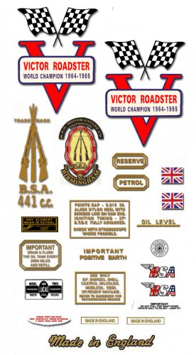 1967-68: BSA B44VR Decals - RESTORERS DECALSET - BSA Victor Roadster Stickers (Adhesive transfers)