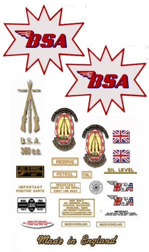 BSA B40 Enduro Star : 1964 to 66 - DECAL SET-  BSA B40E 350 Sticker set (Adhesive transfers)