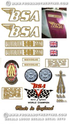 1972-73: BSA B50MX Decals - RESTORERS DECALSET - BSA Victor Moto Cross Stickers (Adhesive transfers)