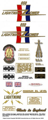 1967: BSA Lightning - RESTORERS DECALS - BSA  A65L Stickers (Adhesive Transfers)
