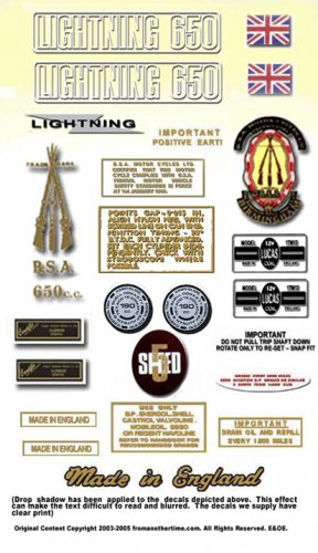 1971-72: BSA LIGHTNING - RESTORERS 5 SPEED DECALSET - BSA A65L Stickers (Adhesive Transfers)
