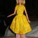 Bright yellow sleeveless full dress for Barbie Dolls - ed106