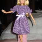 Easy on purple & lavender peasant zig zag print dress for Barbie Dolls - ed91