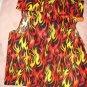 Medium size pet shirt / vest in red, orange, yellow flame print - dd10