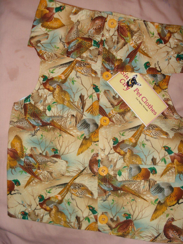 Medium size pet shirt / vest in Pheasant print - dd10