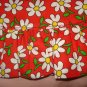 Large red pet dress with white daisies with a ruffle and bow - dd07