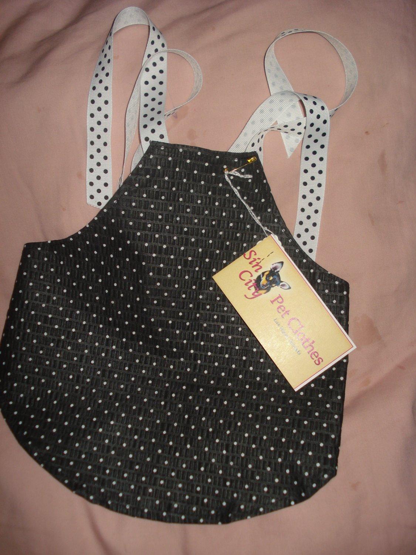 X-Small size pet dress with black & white polka dots- dd03