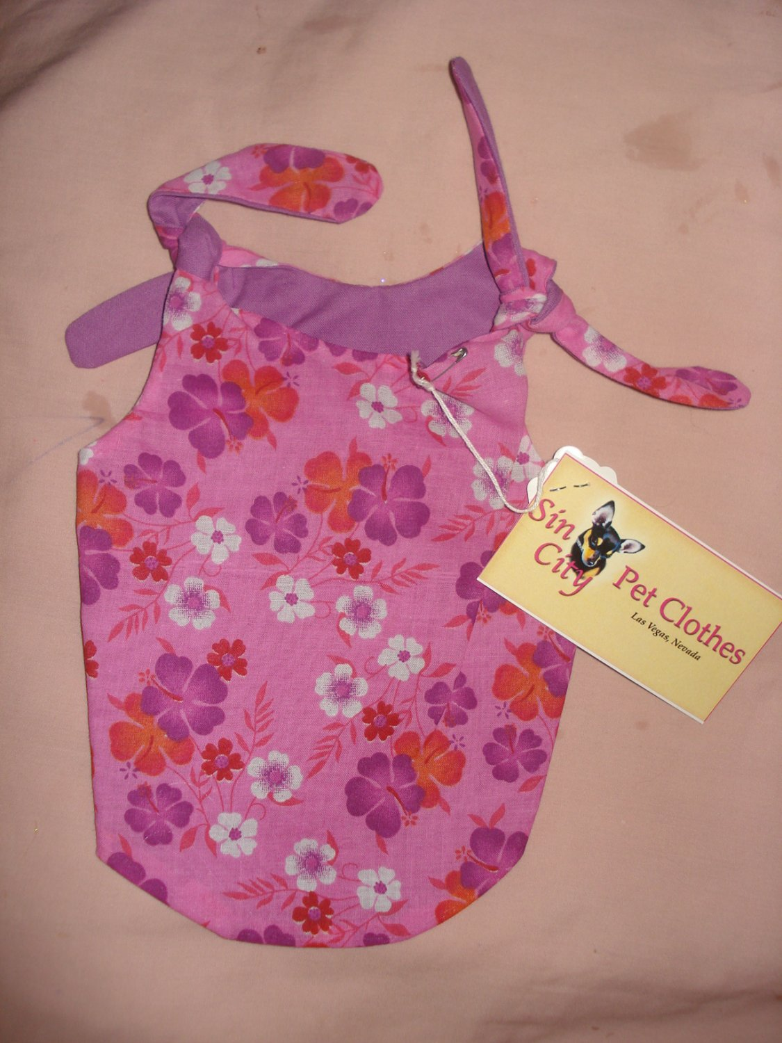 Small REVERSABLE Pet dress in hot pink & purple floral print - dd01