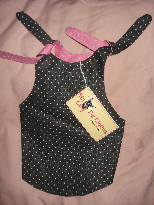 Medium REVERSABLE pet dress in pink & black with polka dots - dd04