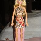 Brown African animal print mini skirt & halter top set for Barbie Dolls - ed94