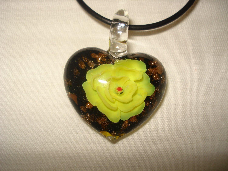 Yellow rose puffy glass heart pendant - eg08