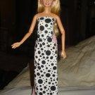Black & white polka dot long skirt and halter top set for Barbie Doll - ed69