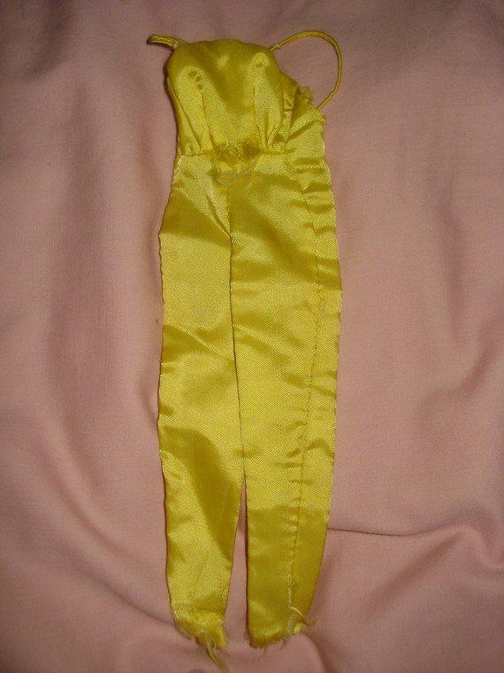 Vintage Barbie Doll yellow silk pantsuit NEEDS TLC - ev01