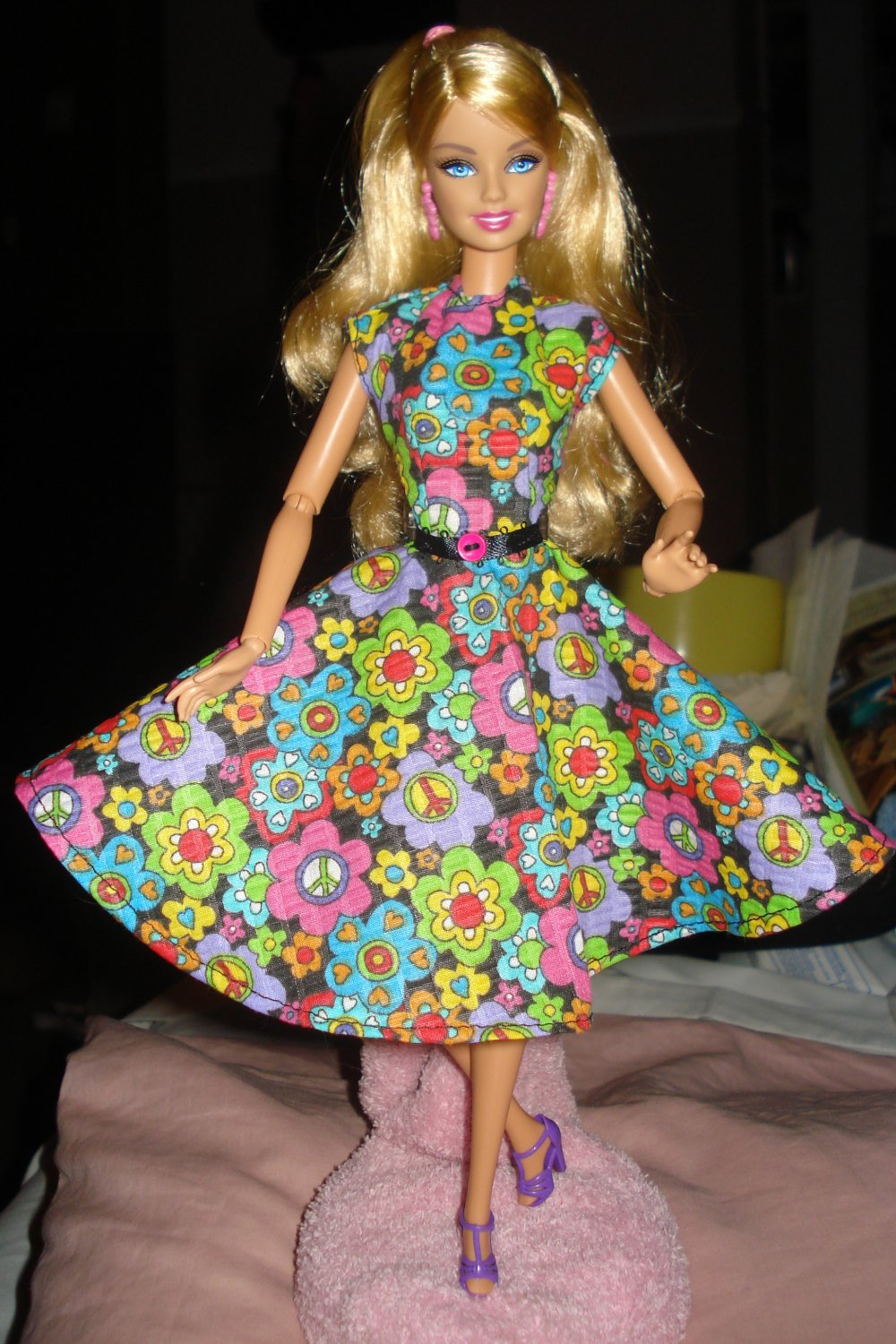 Circular skirt dress in multi-colored floral for Barbie Dolls - ed10