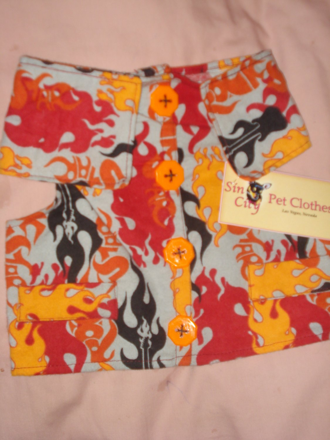Small pet shirt / vest in grey with red, black & orange flames - dd09