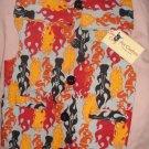 Large pet shirt / vest in grey with red, black & orange flames - dd11