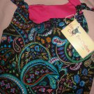 Large REVERSABLE pet dress in black & multi-colored paisley print - dd05