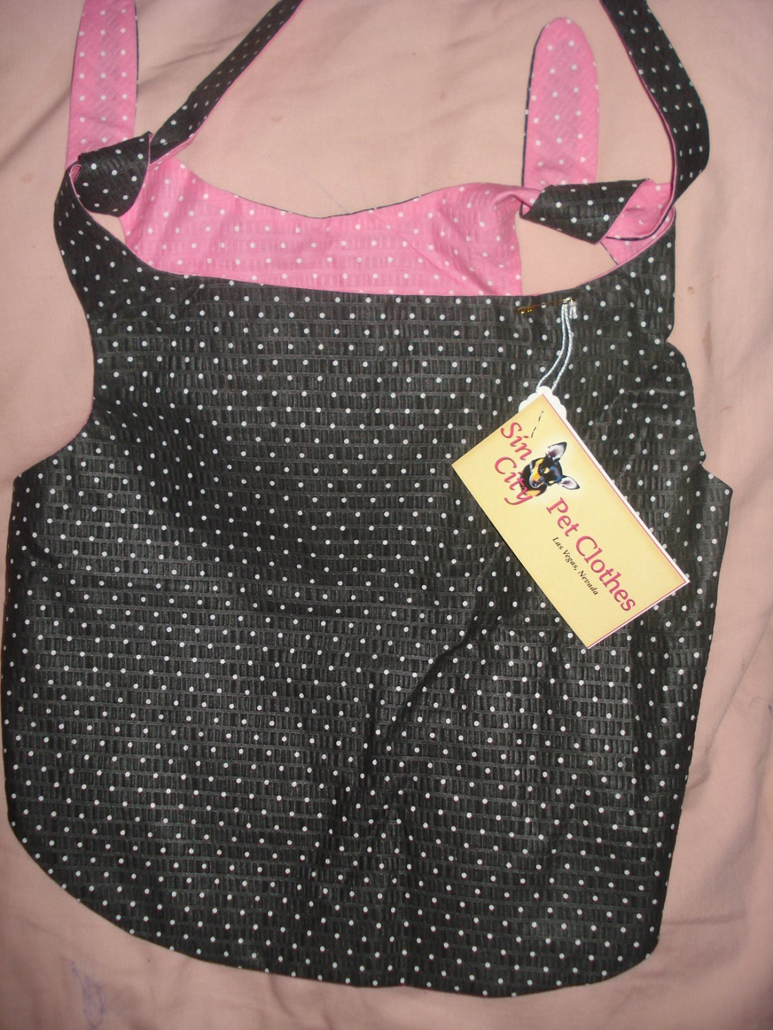 Large REVERSABLE pet dress in pink & black with polka dots - dd05