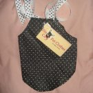 Small size pet dress with black & white polka dots- dd01