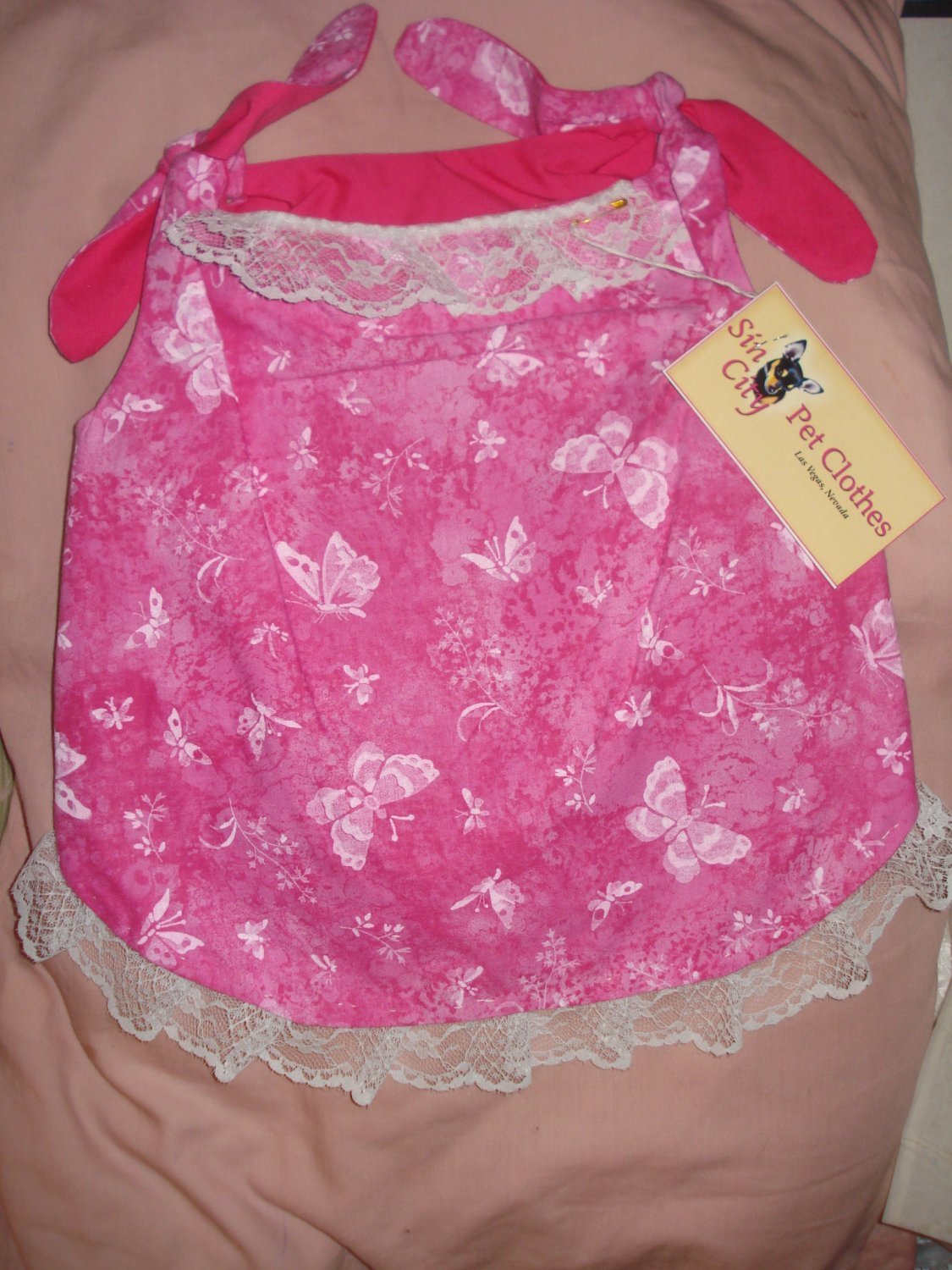 Large REVERSABLE Pet dress in hot pink with white butterflies and flowers - dd05