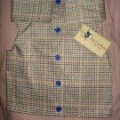 Medium size pet shirt / vest in a beige & brown plaid print - dd10