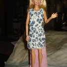 Blue and white floral short dress with lace for Barbie Dolls - ed70