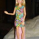 Short multi-colored floral and black dress for Barbie Dolls - ed68