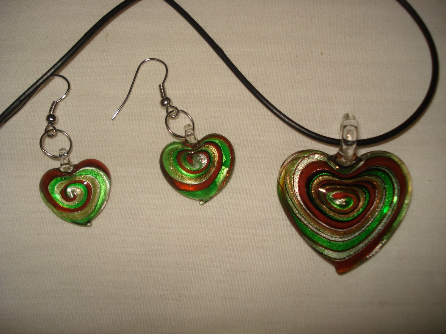 Glass heart necklace and earring set with gold, green, black & copper swirls - eg21