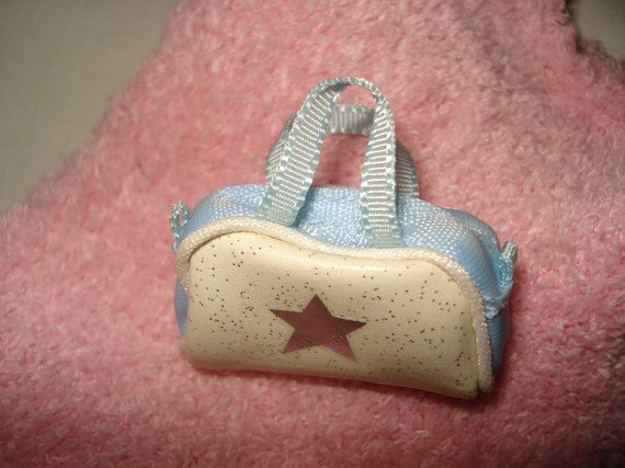 Mini white and blue purse for Barbie - ep09
