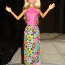 Long black floral skirt and pink halter top set for Barbie Dolls - ed51
