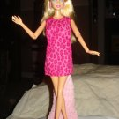 Hot pink animal print dress with matching headband for Barbie Doll - ed58