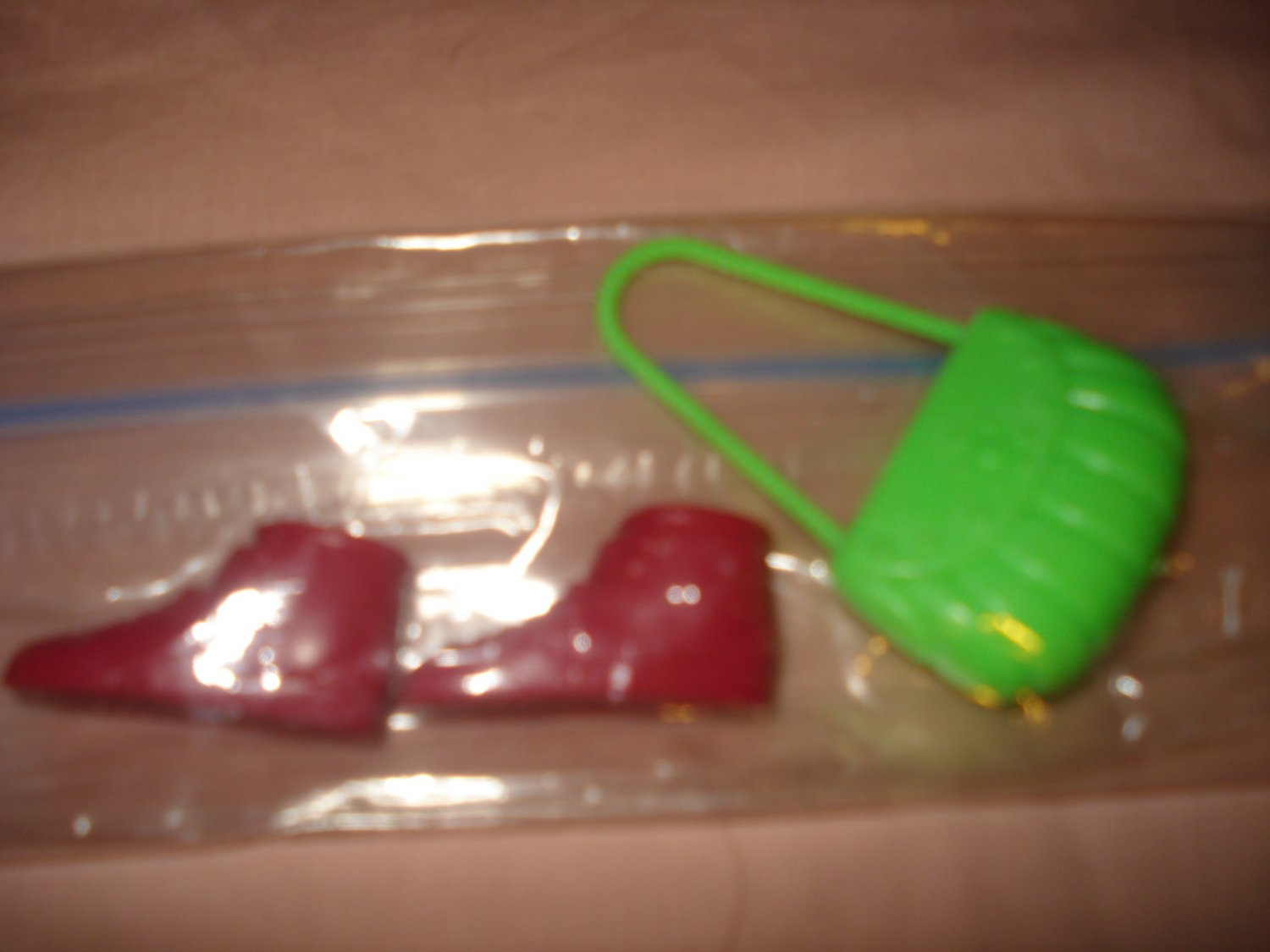 Red ankle length boots and lime green purse - NEW ea01