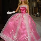 Silkstone Barbie hot pink and white lace formal dress - ed35