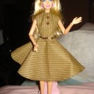 Circular skirt dress in brown and yellow wavy striped pattern for Barbie Dolls - ed21