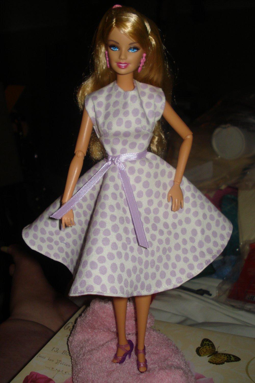 Circular skirt purple polka dot print dress for Barbie - ed14
